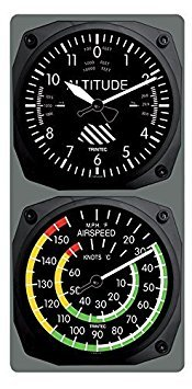 Trintec Aviation Altimeter Altitude Clock and Airspeed Thermometer Console Set by Trintec