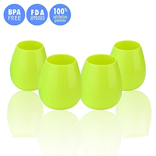 JYPC Silicone Wine Glasses Unbreakable Stemless Foldable Rubber Wine Cups for Traveling Camping Picnic Outdoor - Green 12 oz (Set of 4)