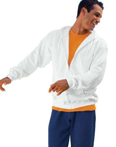 Hanes mens 9.7 oz. Ultimate Cotton 90/10 Full-Zip Hood(F280)-White-L ()