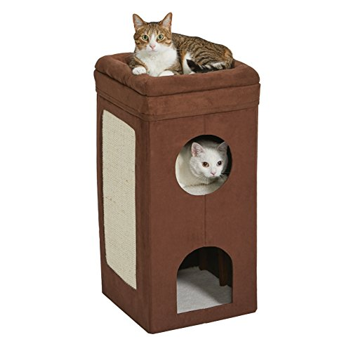 3 Tier Tall Narrow Cat Condo in Brown Faux Suede & Synthetic Sheepskin With Sisal Scratching Panel