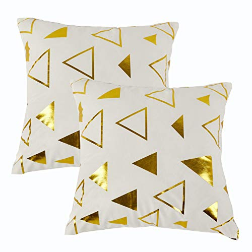 Set Palm Sunday (Sunday Praise Set of 2,Velvet Decorative Throw Pillow Covers Modern Geometric Pattern Gold Print Handmade Square Cushion Covers Pillow Shams for Couch/Sofa/Bed/Chair,18x18 Inches(Triangle))