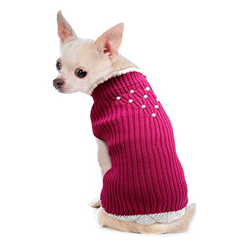 PET ARTIST Classic Knit Lace Pet Sweater for Spring Fall Winter – Pullover Warm Dog Sweaters for Small Dogs Girl & Puppy…