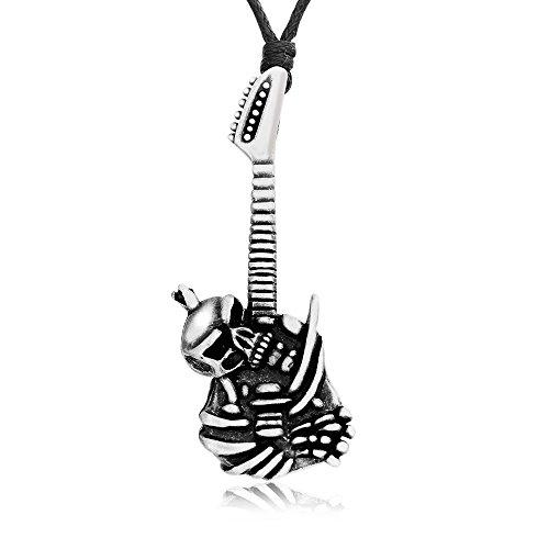 Dan's Jewelers Punk Gothic Skull Guitar Necklace Pendant, Fine Pewter Jewelry (Skull Guitar Pendant)
