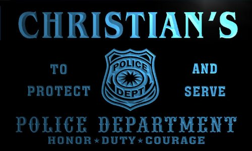 tk235-b Christian's Police DEPT Department Badge Policemen Bar Beer Neon Light Sign by AdvPro Name