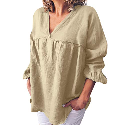 XVSSAA Ladies Summer Stylish Cotton-Linen T-Shirt, Women's Pure-Color V-Neck Loose Casual Blouse Tops Beige