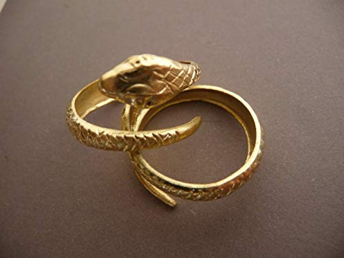 - Snake Brass Ring - Ornate Raw Brass