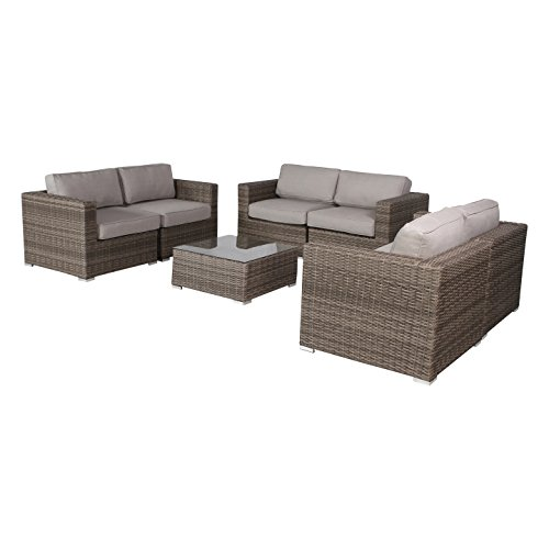 Living Source International Verona Outdoor Furniture Patio Sofa Couch Garden, Backyard, Porch or Pool All-Weather Wicker with Thick Cushions (7-Piece Loveseat Style, Verona -