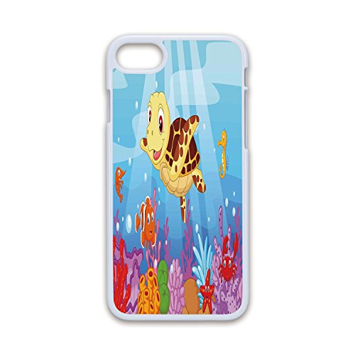 (Phone Case Compatible with iPhone7 iPhone8 White Soft Edges 2D Print,Turtle,Funny Adorable Cartoon Style Underwater Sea Animals Baby Turtle and Fish Collection,Multicolor,Hard Plastic Phone)