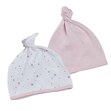 2 x gorros para bebés recién nacidos con nudo de algodón rosa y ...