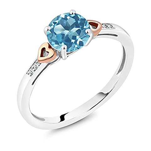 925 Sterling Silver and 10K Rose Gold Ring Round Swiss Blue Topaz with Diamond Accent (1.41 cttw, Available in size (10k Gold Ring Size 5)