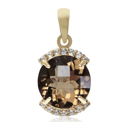 (4ct. Natural Smoky Quartz & Topaz 14K Gold Plated 925 Sterling Silver Pendant)