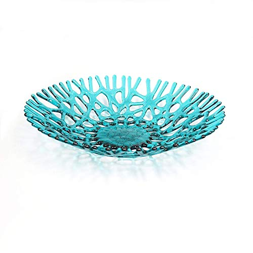 Lacy Glass Art Sea Coral Fruit Bowl Centerpiece in Aquamarine Blue Green