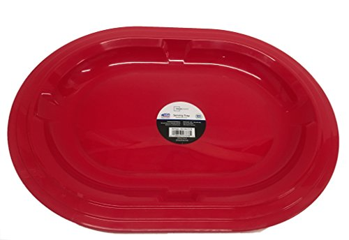 - Oval Holiday Serving Tray, 16 inch, Red