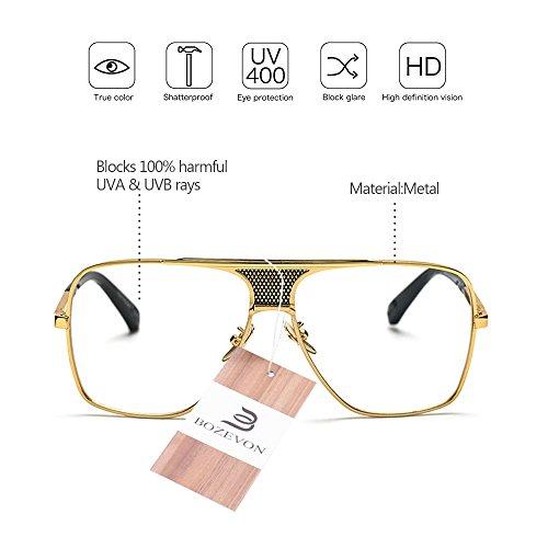al Protección Gafas de Vendimia de 07 calidad de BOZEVON Marco la Hombres Metálico Aire Libre Alta Estilo sol UV400 la del qBZCE
