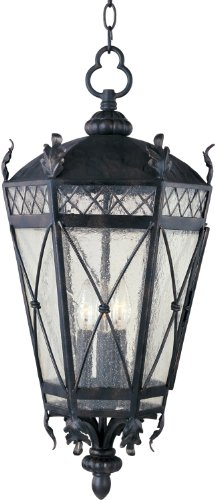 Maxim 30459CDAT Canterbury 3-Light Outdoor Hanging Lantern, Artesian Bronze Finish, Seedy Glass, CA Incandescent Incandescent Bulb , 40W Max., Dry Safety Rating, Standard Dimmable, Fabric Shade Material, 5760 Rated Lumens