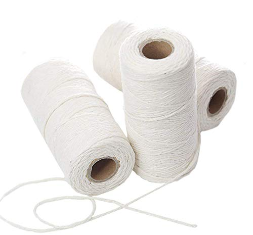 PENTA ANGEL 300 Yards White DIY Craft Decoration Kitchen Natural Cotton Cooking Twine Food Packaging String for Trussing and Tying Poultry Meat Making Sausage, 3PCS - Trussing Tool