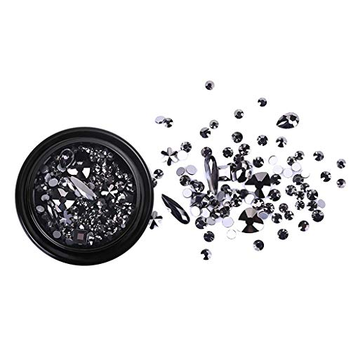 Micro Drill Mixed Nail Crystals Diamond Drill Nail Art Jewels Decoration Han Shi (Black)