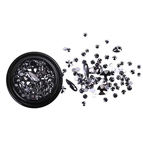 Micro Drill Mixed Nail Crystals Diamond Drill Nail Art Jewels Decoration Han Shi (Black)