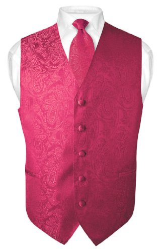 Men's Paisley Design Dress Vest & NeckTie HOT PINK FUCHSIA Neck Tie Set sz XS (Mens Pink Dress Vest)