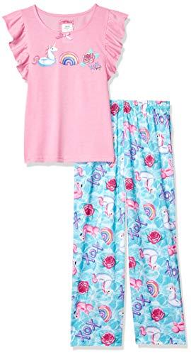 Betsey Johnson Girls' Big 2 Piece Jersey Pajama Set, Unicorn Floats Small