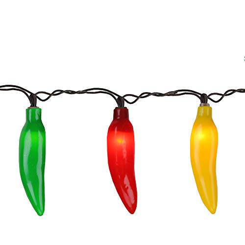 35-Count Yellow and Green Chili Pepper String Light Set, 22.5ft Brown -