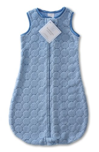SwaddleDesigns Microfleece Sleeping Sack with 2-Way Zipper, Blue Puff Circles, 0-6MO