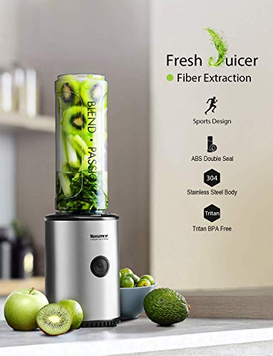 Smoothie Blender, Willsence Personal Blender 300W Single Serve Blender Stainless Steel Smoothie Mixer with BPA Free Travel Bottle and Protective Sleeve, Food Grade Blades