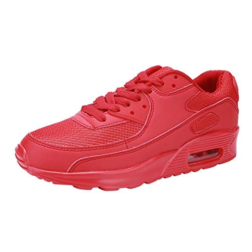 UOKNICE Couple Air Cushion Shoes Sports Running Shoes Student Gym Sneaker Travel Casual Shoes(Red, CN 39(US 7))