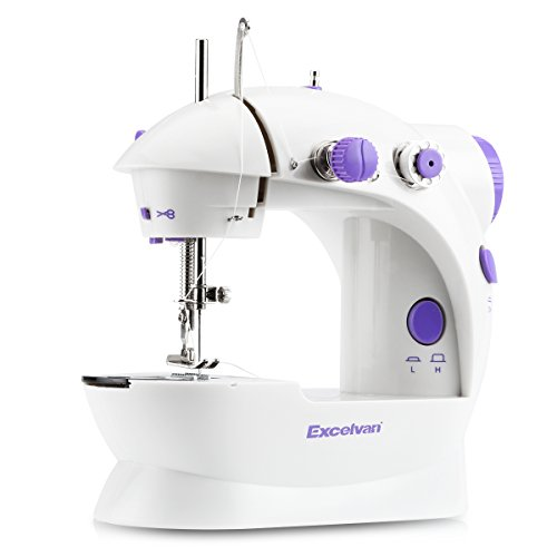 Excelvan two speed stitch adjustable household sewing machines with double thread and built-in sewing light,foot pedal included (Purple)