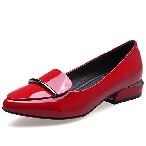 Ballet Nine Patent Red Comfort Women's Heel Chunky Seven Shoes Handmade Leather Dress Toe Casual Pointed Flats 7rxc7HaZWn