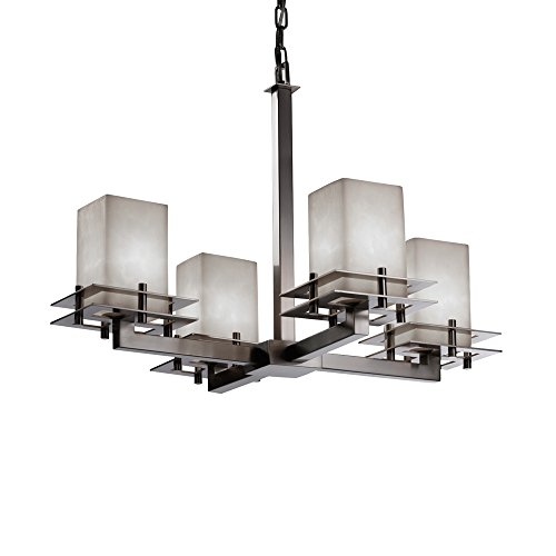 Justice Design Group Lighting CLD-8100-15-NCKL Clouds Collection - Metropolis Chandelier, Brushed Nickel Finish