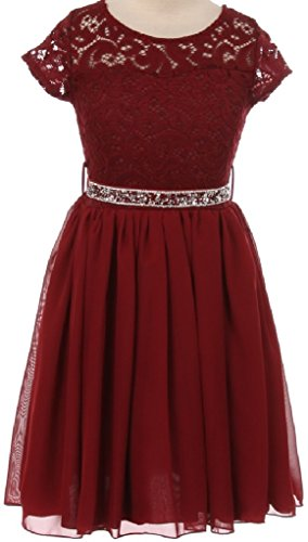 Price comparison product image Big Girl Cap Sleeve Lace Top Chiffon Holiday Flower Girls Dresses (20JK53S) Burgundy 14