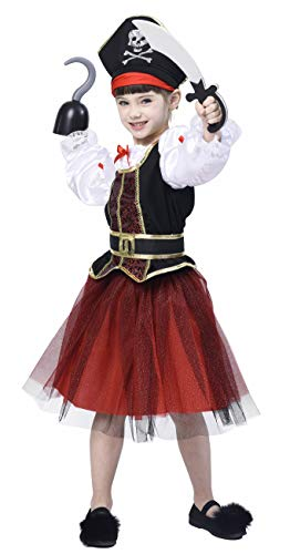 (Pirate Costume for Girls, Deluxe Buccaneer Fancy Dress Outfit (4pcs Set) Animal Dress Outfit Halloween Princess Role-Play 3-4T)