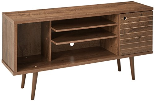 Manhattan Comfort Liberty Collection Mid Century Modern TV Stand With One Cabinet and Three Open Shelves and One Cubby With Splayed Legs, - Cabinet Walnut Dvd Storage