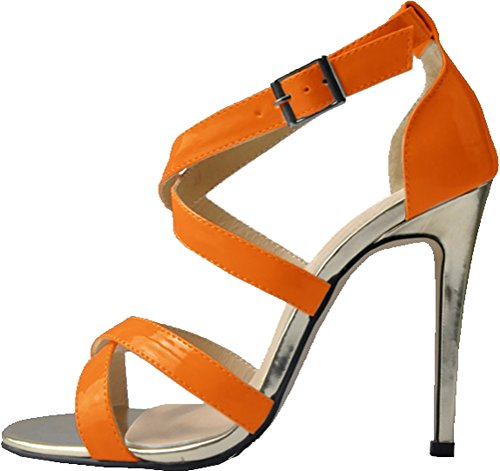Ladies Sandals Toe Open 1QP Ankle Bride PU EU 102 Orange Sweet Heeled Wedding 37 OL Job Nightclub 5 Work Straps SBWcqAv5c
