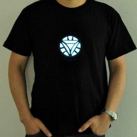 Tony Stark Light-Up Arc Reactor LED Iron Man 2 Black T Shirt---Size L (Iron Man Glow Arc Reactor)