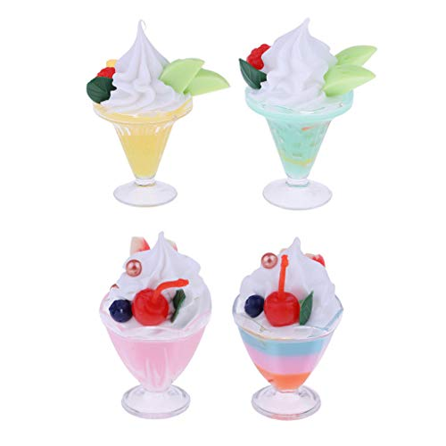 1/6 Miniature Ice Cream Sundae Toy for Barbie Hot Toys Dolls House 4 Pieces