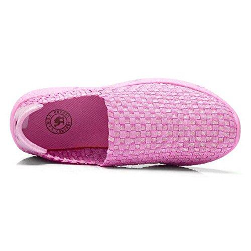 Cammello Da Donna Comfort Ultraleggero Tessuto Elastico Intrecciato Antiscivolo Su Mocassini Da Passeggio Rosa