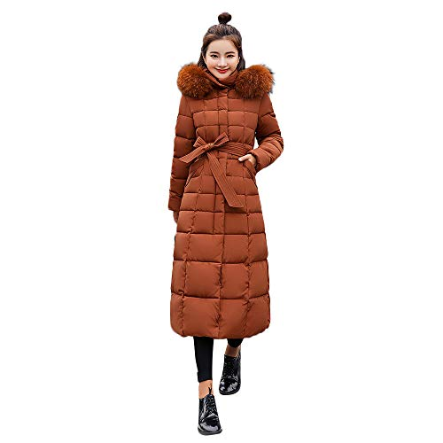 Clearance Sale! ANJUNIE Maxi Down Coat,Women Outerwear Fur Hooded Coat Long Cotton-Padded Jackets Pocket Coats(Khaki,M)