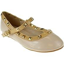 QQ Girls Dolly 36 Little Girls Studded Ballet Patent Flats Fuchsia