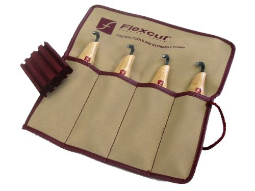 Flexcut Carving Tools, Left-Handed Scorp Set, Tool Roll and Strop Included, Set of 4 Scorps (KNL150)
