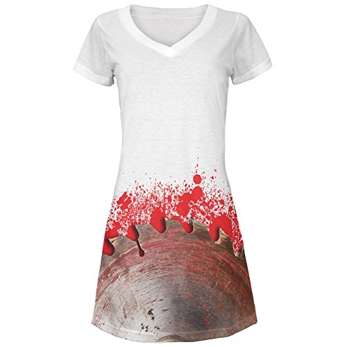 Halloween Bloody Saw Blade Massacre All Over Juniors Cover-Up Beach Dress - -