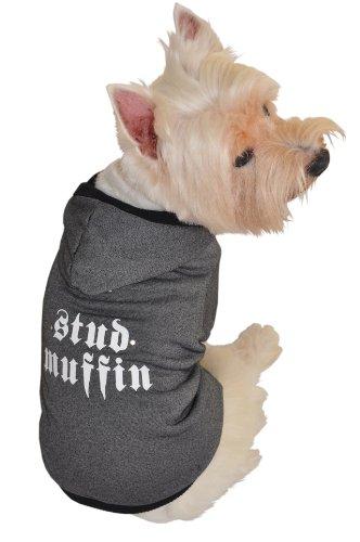 Ruff Ruff and Meow Dog Hoodie, Stud Muffin, Black, Medium by Ruff Ruff and Meow