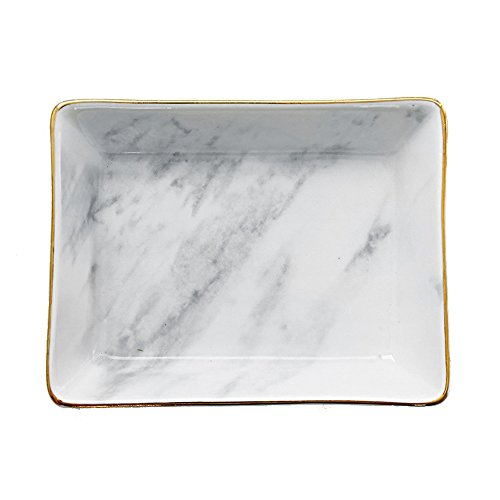 SOCOSY Marble Ceramic Ring Dish Jewelry Dish Ring Holder Jewelry Organizer with Golden Edged Home Decor Wedding Gift]()