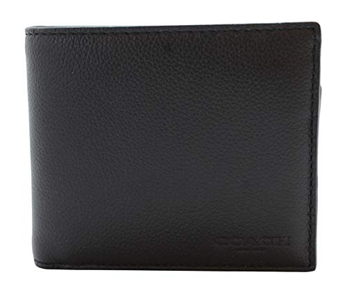 COACH Compact ID Sport Calf Bifold Wallet in Black 74991,Medium ()