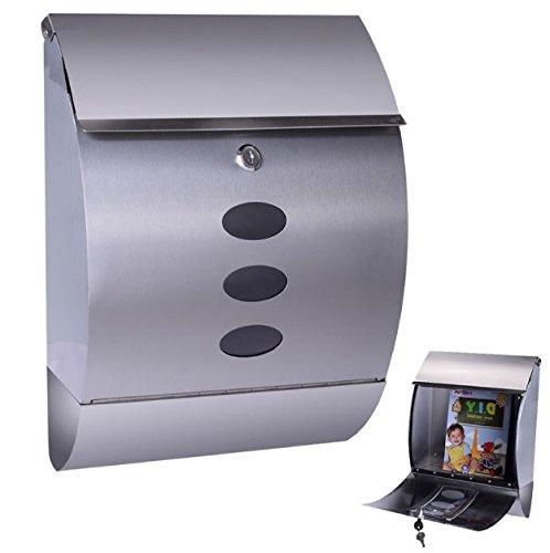 New Modern Stainless Steel Wall Mount Mail Box Letter Bills Magazine Mailbox with Retrieval Door, Newspaper Roll, and 2 keys Post Box Security Heavy Gibraltar by Royal Security USA (Image #3)