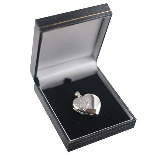 Médaillon à loquet 30x28mm en forme de coeur en argent, moitié gravé à la main