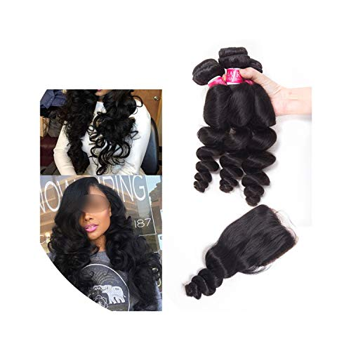 Brazilian Loose Wave Bundles With Closure Human Hair Weave 3 Bundles With Closure Non Remy Bundles With Closure,22 22 22 & Closure20,Natural Color,Middle Part -