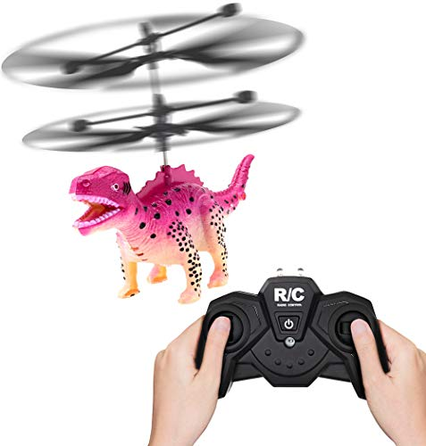 Matoen 2CH Drone Helicopter RC Mini Helicopter Flashing Light Aircraft Novelty Toys Kid 356 Remote Control Dinosaur Aircraft (A, Pink)