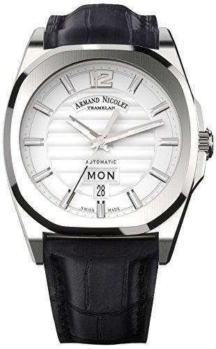 Armand Nicolet - Reloj automático Unisex con Plata Esfera analógica Pantalla y Correa de Cuero Negro a650aaa-ag-pi4650na: Amazon.es: Relojes